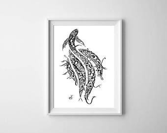Arabic Calligraphy Wall Art Print - Khalil Gibran Poetry - Black on White