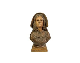 Mari Bolen School Marm Woman Bust Signed Art Pottery Sculpture 10 In Ceramic