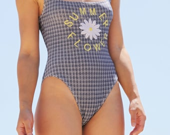 Vintage white blue Daisy plaids-checks one piece swimwear.size 38 (s/m)