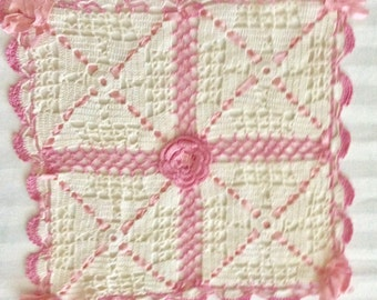Vintage White Crochet Square with Pink Accents
