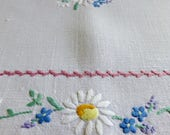 Pair of Vintage Linen Tray Cloths or Table Toppers with Hand Embroidered Flowers 47x34cm