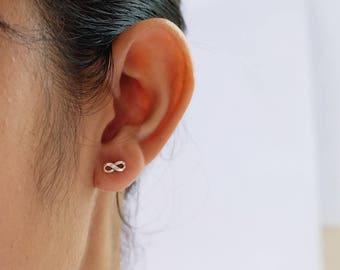 Tiny Infinity Sterling Silver Stud Earrings, minimalist everyday earrings , silver Studs