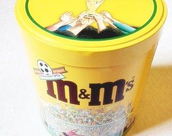 M&M Tin Canister Soccer 1990 Vintage Italian Soccer Tin Vintage Chocolate Tin