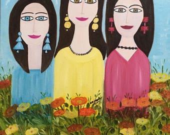 Girls in flower garden