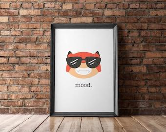Fox Cool | Mood Printable, Emoji Printable, Fox Nursery, Immediate Download, Printable Poster, Digital Print, Fox Emoji, Cool Fox