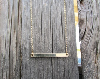 Gold Bar Necklace, Minimalist Necklace, Minimal Layering Necklace, Dainty Everyday Necklace, Skinny gold Horizontal Bar, Gold Bar Necklace