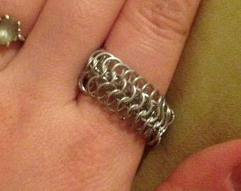Chainmaille Jewelry, Chain maille Ring, Unisex Jewelry, Aluminum Chainmaille Ring, Chain mail, Silver Ring, Many Colors, Custom Jewelry