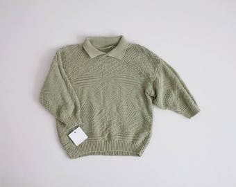 sage green sweater | collared sweater | 90s cropped sweater