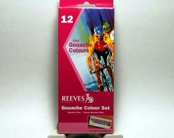 Reeves Fine Gouache Paint Set. 12 colors in 12ml tubes.