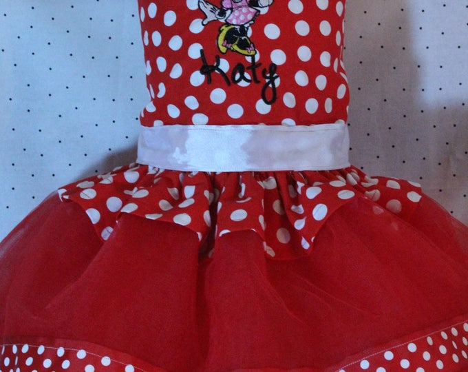 Minnie Mouse dress,Red and white polka dot  Minnie shirt,Red tulle skirt,1st,2nd,3rd,4th,5th,6th,birthday outfit for girls,Disney birthday
