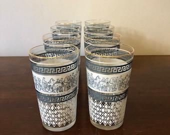 Set of 8 High Ball Jeanette Glassware - Roman Pattern