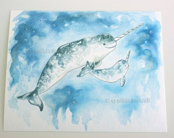 Narwhal drawing | Etsy
