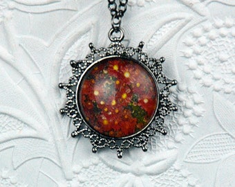 Red Daisy Photo Necklace in Antique Silver Sun Pendant