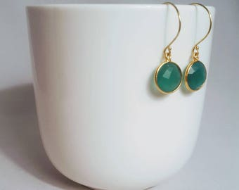 Green Onyx Dangle Earrings