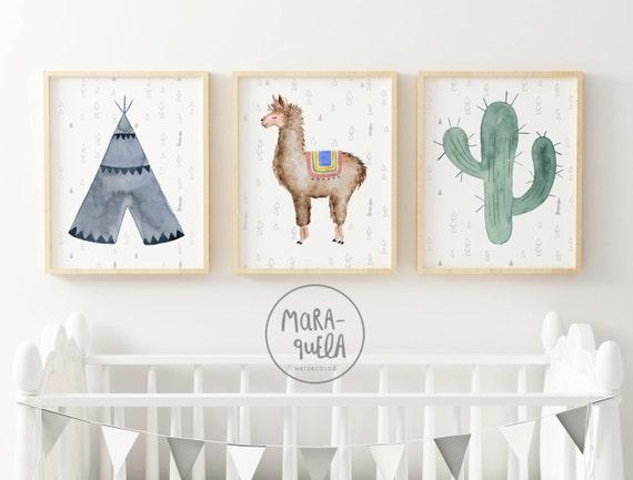 LLAMA SET watercolor. Teepee, Llama and Cactus illustrations. Tonalidades azul y verde