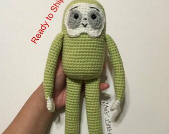 Gremblygunk, 100% acrylic yarn crocheted green sloth Amigurumi. Ready to Ship! (Grembly Gunk)