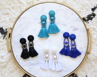 Tassel earrings, blue earrings, statement earrings, bold earrings, big earrings, statement jewelry, blue jewelry, earrings for women, gift