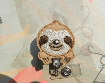Sloth Badge Reel, Medical Badge Reel, ID Badge Holder clip, Retractable, Feltie, Sloth Felt Badge Reel, Three Toed Sloth Feltie Badge Reel