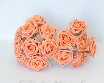 Peach Silk Flower Etsy