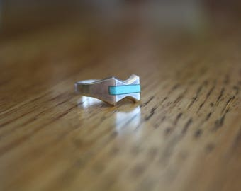 Vintage Silver Ring with Turquoise size 3