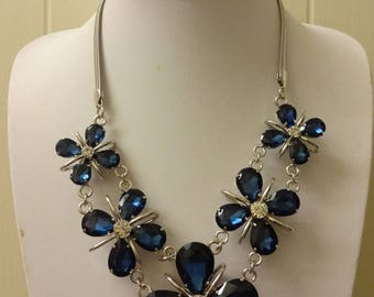 Blue Crystal Necklace, Blue Necklace, Crystal Necklace, Blue Sapphire Necklace, Rhinestone Crystal Necklace, Sapphire Blue