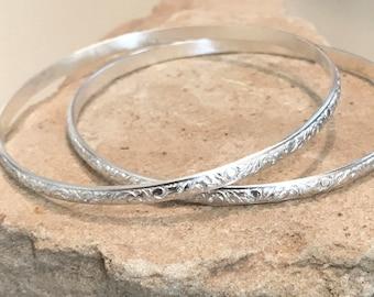 Sterling silver bangle bracelets, half round with pattern bangle bracelets, stackable sterling silver bracelets, sterling silver bangles