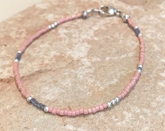 Pink and purple seed bead bracelet, sterling silver bracelet, boho bracelet, minimalist bracelet, dainty bracelet,gift for her gift for wife