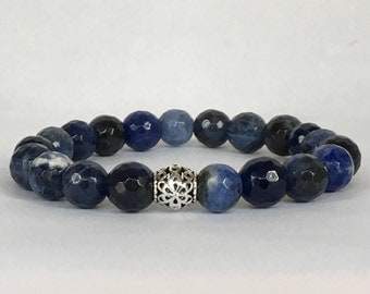 Women's natural sodalite bracelet with 925 sterling silver