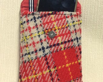 Tweed phone case, cell case in red, white & black check