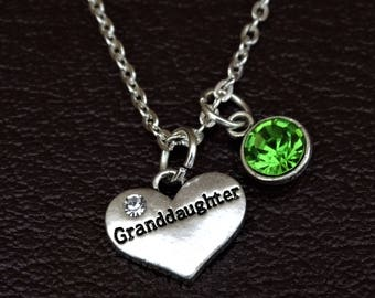 Granddaughter Necklace, Granddaughter Charm, Granddaughter Pendant, Granddaughter Jewelry, Granddaughter Gift, Grandma Granddaughter Jewelry