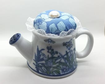 Teapot Pin Cushion - April Showers