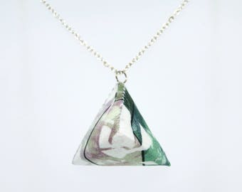 Triangle Necklace – Pink and Green Tropical Print - Handmade - Geometric - Silver Plated