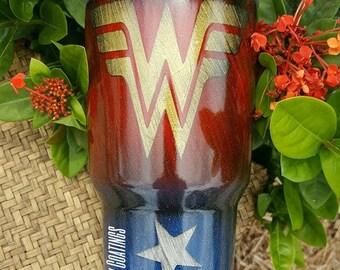 Wonder Woman Powder Coated Tumbler, Wonder Woman glitter dipped, Wonder Woman RTIC, Wonder Woman YETI