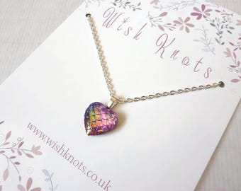 Pink Lilac Dragon Heart Necklace / Mermaid Tail Pendant / Mermaid Scale / Dragon Heart / Fantasy Gift / Chain / Colourful Layering Jewellery