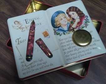 "SILVER CRANE TIN Box,""Eternal Love"",1995,Embossed lid,Collectible tin"