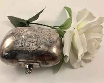 Sterling Silver .925 Soap Box-Clasp and Floral Motif