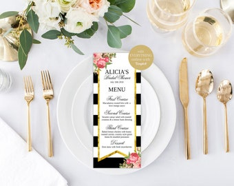 Wedding Menu, Wedding Menu Cards, Menu Cards, Printable Menu, Printable Menu Card, Dinner Menu, Reception Menu, Black & White Menu Cards