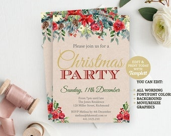 Christmas Invitation, Christmas Party, INSTANT DOWNLOAD Editable Invitation, Christmas Invite, Printable Invitation, Invitation Template