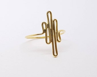 gold heartbeat ring gold plated 14k pulse ring zigzag ring minimalist jewelry