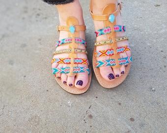 "70% Easter Sales, Bohemian Greek Sandals, Ankle Strap Sandals ""STAR SHINE''"