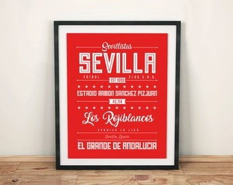 Sevilla Poster; Typographic Football Team Print