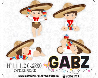 My Little Charro, Mexican Folklore, Clipart, Aztec, Decorative, Baby Shower, Mexican, Fiesta, Gabz