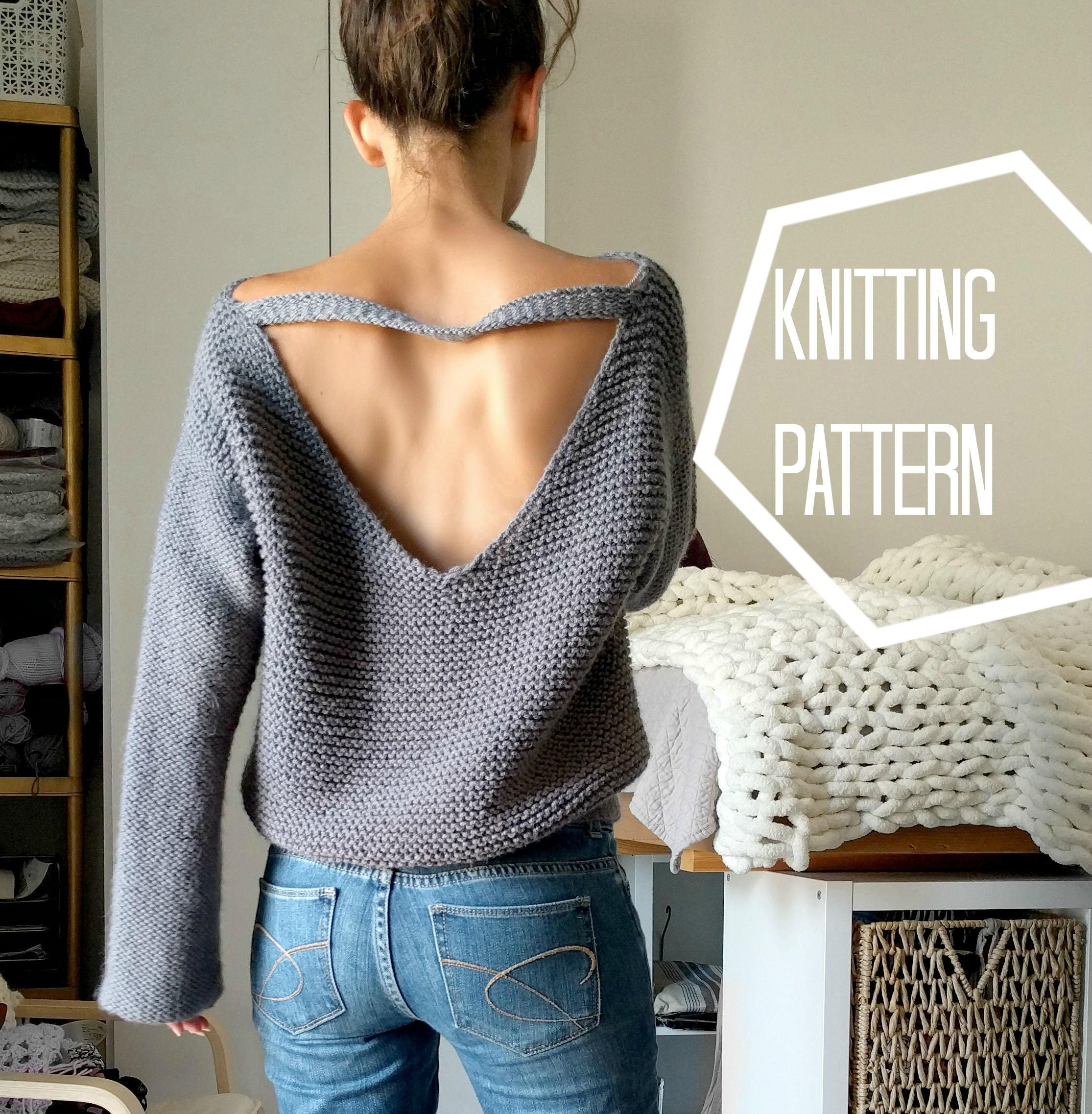 No Purls Sweater Pattern ONLY, V Back Knit Sweater Pattern ...