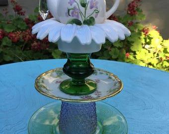 Glass Totem, Garden Decor, Vintage Glass, Yard Art