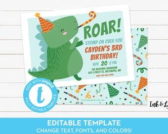 Dinosaur Birthday Invitation - Dinosaur Birthday Invitation Printable - Dinosaur Party Invite - Dino Birthday Invitation Boy - Templett