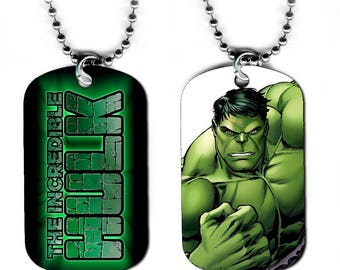 DOG TAG NECKLACE - The Incredible Hulk 2 Bruce Banner Avengers Superhero Comic Book Art