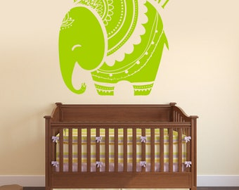 Wall Decal Vinyl Baby African Elephant Decor for Nursery and Kids Play Room  (#2738dn)