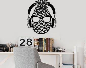 Pineapple Vinyl Wall Decal Headphones Sunglasses Teenage Decor Stickers Mural (#2562di)
