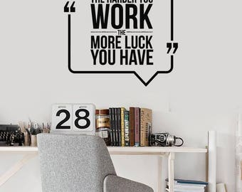 Hard Work Vinyl Wall Decal Office Space Quote Inspirational Stickers Mural (#2563di)