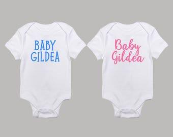 Gender Reveal Baby Onesie Set ; Baby Last Name Personalized Custom Onesies ; Boy or Girl ; Pink or Blue